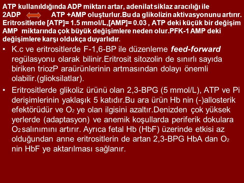 ATP kullanıldığında ADP miktarı artar, adenilat siklaz aracılığı ile 2ADP ATP +AMP oluşturlur.Bu da glikolizin aktivasyonunu artırır. Eritrositlerde [ATP]= 1.5 mmol/L,[AMP]= 0.03 , ATP deki küçük bir değişim AMP miktarında çok büyük değişimlere neden olur.PFK-1 AMP deki değişimlere karşı oldukça duyarlıdır.